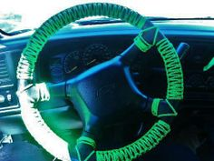 Paracord-Wrapped Steering Wheel #550paracord #550cord #paracord #cord #cordage #wrap #steeringwheel #wheel #weave #woven #car #project #craft #DIY #crafting