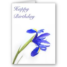 Purple Iris Flower Birthday Card $3.35