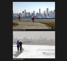 Chicago weather, two days apart. (Zbigniew Bzdak, Chicago Tribune/January 13, 2012)