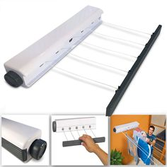 NEW 21M 5 LINE HEAVY DUTY RETRACTABLE OUTDOOR CLOTHES LAUNDRY DRYING LINE INDOOR