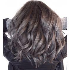 Image result for grey balayage on brown hair
