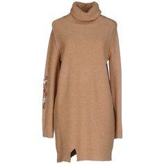 E-gó Short Dress (€105) ❤ liked on Polyvore featuring dresses, camel, long sleeve mini dress, turtleneck dresses, mini dress, sequined dresses and long sleeve dress