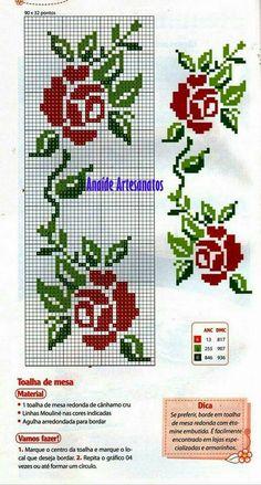 Cross Stitch Rose, Cross Stitch Borders, Cross Stitch Flowers, Cross Stitch Designs, Cross Stitch Charts, Cross Stitching, Cross Stitch Patterns, Cross Stitch Embroidery, Crochet Motif