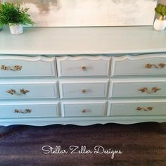 Refinished French provincial dresser/hutch done in Serenity Blue Rustoleum chalk paint www.facebook.com/stellarzellerdesigns