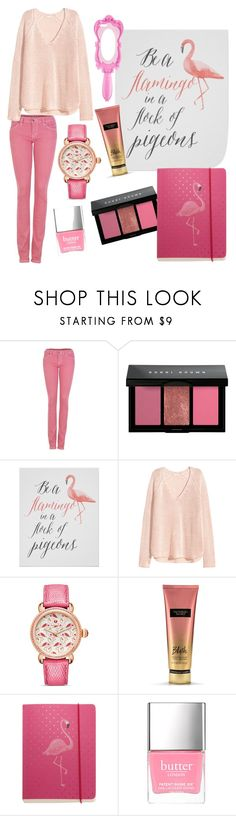 """pink"" by ilarylmiao ❤ liked on Polyvore featuring Elsom, Bobbi Brown Cosmetics, Michele, Victoria's Secret, Go Stationery, Butter London and Moschino"