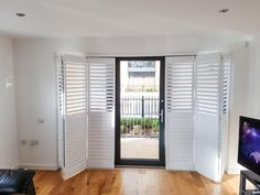 Save up to on Plantation Shutters, our bi-folding shutter doors are perfect to cover any large door area. Interior Design London, Wooden Shutters, Shutter Doors, Room Goals, Bay Window, Window Coverings, Sliding Doors, French Doors, Luxury Homes