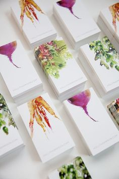 Platter company card inspiration - Watercolor Veggies by Marta Spendowska, via Behance