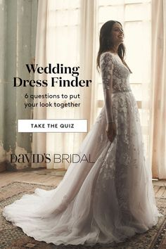Take our wedding dress quiz to find the perfect wedding dress for you! Pick your style, neckline and body type to discover stunning bridal gown options from David's Bridal! Wedding Dress Quiz, Wedding Dress Finder, Perfect Wedding Dress, Best Wedding Dresses, Bridal Dresses, Wedding Gowns, Chic Wedding, Wedding Ring, Wedding Reception