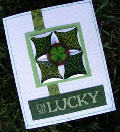 handmade St. Patrick's Day card ... greens and white ... focal point square with folded paper squares ...