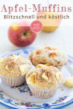 Einfache saftige Apfel-Muffins mit Joghurt und Öl: Diese Apfel-Joghurt-Muffins … Simple juicy apple muffins with yogurt and oil: These apple Banana Bread Recipes, Muffin Recipes, Apple Recipes, Cupcake Recipes, Cookie Recipes, Snack Recipes, Snacks, Easy Recipes, Yogurt Muffins
