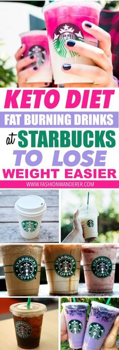 These keto diet fat burning drinks at Starbucks are THE BEST! I'm so glad to find these delicious latte not only they are yummy but also it helps to loose weight easy and faster! From ombre pink drink, white mocha with coconut and almond milk or MCT oil and caramel macchiato, keto coffee and many more! Definitely pinning! #ketodiet #starbucks #mctoil #ketogenic #coffee #LowCarb #KETO