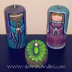 Handmade carved candles, by Yleana Candles. Christmas Nativity, Christmas Crafts, Christmas 2017, Xmas, Candle Art, Bazaar Ideas, Candle Making, Diy And Crafts, Carved Candles