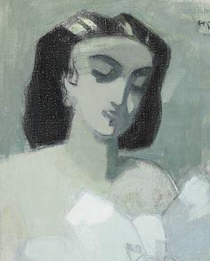 Helene Schjerfbeck: Parisienne. - Pariisitar maalattiin sotavuosina. Riihimäen taidemuseo.  - Malauksessa tummahiuksinen nainen silmät ummistettuina