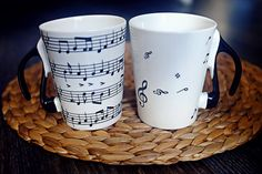 Music Mug, Double Set Mugs For Music Lovers, Music Theme Mugs, Hand painted  Stave and Note Gift Mug Cup
