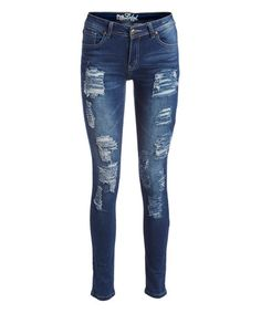 60ce71e8ecca Loving this Dark Blue Asymmetrical-Ripped Skinny Jeans on  zulily!   zulilyfinds Ripped