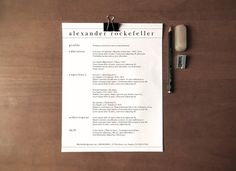 Custom Resume Template | The Alexander Rockefeller by PhantomPrintingPress, $29.95  Clean, simple, professional cv design.
