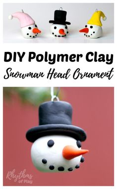 Learning how to make homemade DIY polymer clay Snowman head ornaments is a fun holiday craft for both kids and adults. Handmade ornaments like these easy snowmen with top hats and winter caps are perf(Handmade Top Ideas) Holiday Crafts, Holiday Fun, Christmas Crafts, Christmas Ornaments, Christmas Tree, Christmas Ideas, Christmas Decorations, Christmas Activities, Homemade Christmas