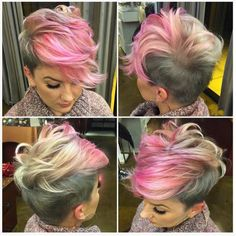 Annnnnd you thought she'd stay blonde! and I broke a lot of color rules and made the sickest grey ever! We are serious hair nerds, no joke! Funky Hairstyles, Shaved Hair, Pixie Haircut, Great Hair, Hair Today, Hair Dos, Pink Hair, Short Hair Cuts, Hair Trends