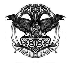 Thor's hammer with Hugin and Munin Buddha Tattoos, Mayan Tattoos, Tribal Back Tattoos, Hip Thigh Tattoos, Viking Tattoo Sleeve, Norse Tattoo, Arte Viking, Viking Art, Bull Tattoos
