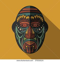 stock-vector-african-ethnic-tribal-mask-in-color-background-flat-icon-ritual-symbol-375516124.jpg (450×470)