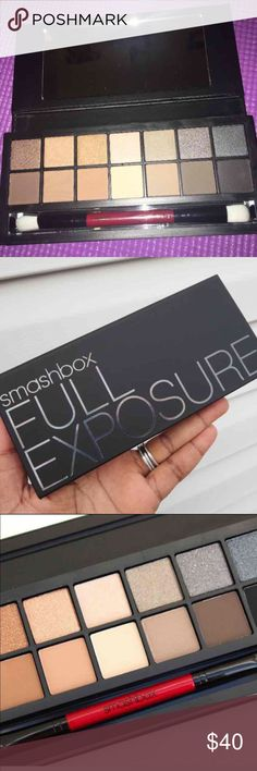 new Smashbox full exposure eye shadow palette. Beautiful new, never used or swatched Smashbox full exposure eyeshadow palette. There is no box but it is in perfect condition and it comes with a dual ended brush that is still in wrapping. This would be perfect for New Year's Eve. It's half matte shadows half shimmer. Beautiful colors, perfect for a great smoky eye! Sephora Makeup Eyeshadow