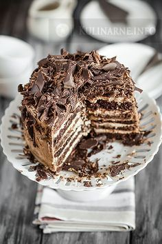 Wielowarstwowy tort urodzinowy Baking Recipes, Cake Recipes, No Bake Desserts, No Bake Cake, Good Food, Food And Drink, Tasty, Sweets, Snacks