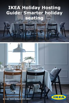 Smarter seating can be anyone's holiday tradition. Here's a helpful tip for the host: These durable IKEA wood chairs don't just fold away - they can also be hung on the wall to save floor space between gatherings.