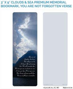 "Create laminated memorial bookmarks with Lamcraft's 3"" x 9"" Clouds & Sea Premium Memorial Cards"