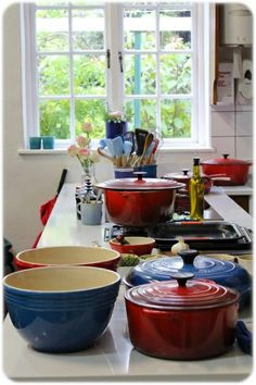 Red White Blue Kitchen With Le Creuset