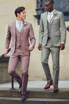 DOUBLE ACT: Mix cool grey with pastels for a contemporary procession Groom Colours, Designer Suits For Men, Looking Dapper, Groom Attire, Tie The Knots, Bridal Boutique, Wedding Suits, Well Dressed, Ted Baker
