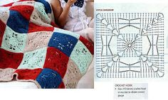 lovely granny square for crochet afghan!  and many other patterns