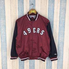 49ERS Varsity Jacket Men Large Burgundy Vintage 1980 s Forty Niners NFL  American Football Rugby Bomb bed33e4ba