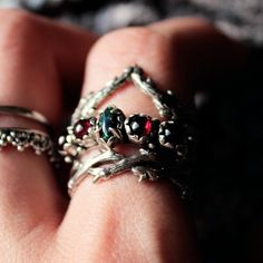 ☩♰☩ Attacus Atlas Garnet & Black Opal Sterling Silver Ring ☩♰☩ shopdixi.com ☩♰☩ #jewelry #jewellery #bohojewels #magic #goth #grunge#lookbook #rings
