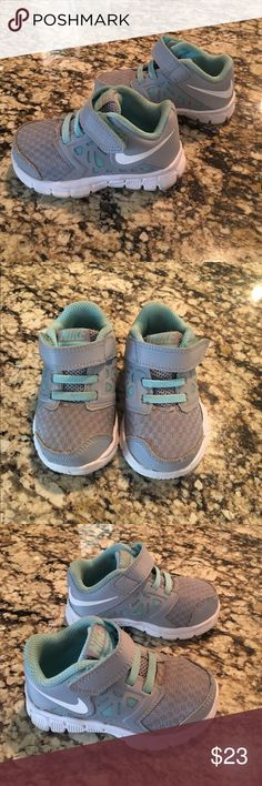 Grey & Mint Toddler Nikes Grey and Mint toddler Nikes. Size 5. Barely worn! Originally $46 Nike Shoes Sneakers