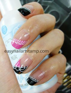 Nail designs by stamping nail art A2 and A35 Fun and simple to dress up your nails. Easy nail art stamp, ENAS, is the stamping nail art kits which are to apply nail polish on the engraved designs.