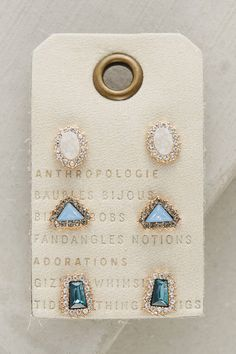 Anthropologie Pave Earring Set