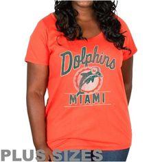 Junk Food Miami Dolphins Ladies Plus Size Goal Line T-Shirt - Orange NFL.com - $31.95