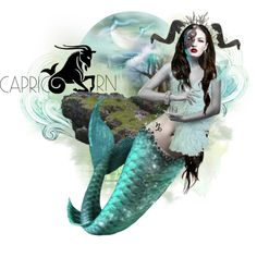 Capricorn : Sea Goat by mew-muse on Polyvore featuring art