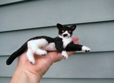 Needle Felted Cat / Custom Miniature Sculpture of by GourmetFelted, $250.00