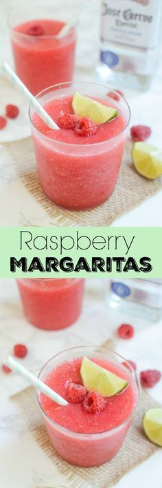 Raspberry Margaritas - use fresh or frozen raspberries to make these easy and delicious margaritas! Refreshing Drinks, Fun Drinks, Yummy Drinks, Liquor Drinks, Bourbon Drinks, Alcoholic Beverages, Raspberry Margarita, Smoothies, 4 Ingredient Recipes