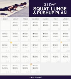 The Squat Challenge Lunge & Pushup Plan - Real Time - Diet, Exercise, Fitness, Finance You for Healthy articles ideas Fitness Workouts, Fitness Herausforderungen, At Home Workouts, Health Fitness, Monthly Workouts, Fitness Journal, Fitness Plan, Fitness Motivation, Shape Fitness