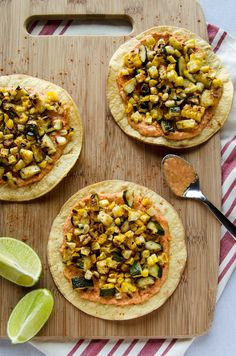 Grilled Zucchini & Corn Tostadas with Spicy Hummus – These simple ...