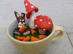 The Easter Bunny - Polymer clay in a cup Polymer Clay Jewelry, Easter Bunny, Fimo