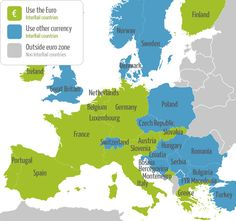 Euro's or not? Find European currency information at this InterRail map