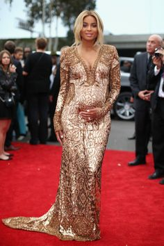 Ciara in dazzling, low-cut Emilio Pucci dress at the Grammys