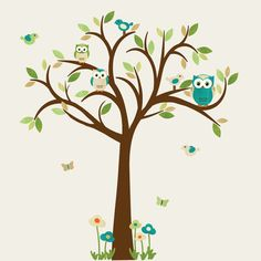 Owl decal, Owl tree wall sticker, owl wall decal, blue owl set, nursery owl decor -- same one just teal and green