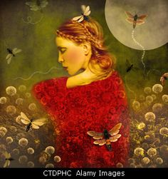 Download this stock image: Magic Garden,young woman in garden with butterflies, - CTDPHC from Alamy's library of millions of high resolution stock photos, Stock Photo, illustrations and vectors.