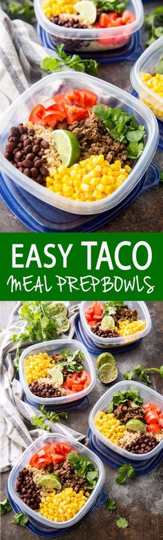 Salsa Verde Taco Meal Prep Bowls Easy. Food Prep. Healthy eating. Clean eating. Clean prepared foods.