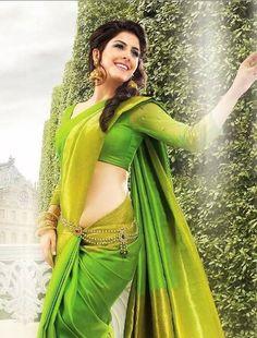 Green Color Tissue By Pattu Saree - Beautiful Girl Indian, Most Beautiful Indian Actress, Beautiful Saree, Beautiful Gorgeous, Indian Dresses, Indian Outfits, Indian Clothes, Parrot Green Saree, Saree With Belt