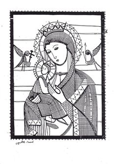 Bobbin lace madonna and child Madonna, Bobbin Lace Patterns, Fillet Crochet, Lace Heart, Point Lace, Lace Jewelry, Needle Lace, Cat Pattern, Lace Making